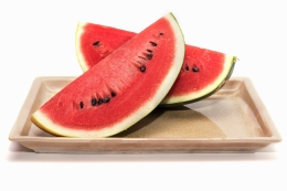 Slices of fresh watermelon in a dish isolated on white background include clipping path, Healthy diet fruits concept