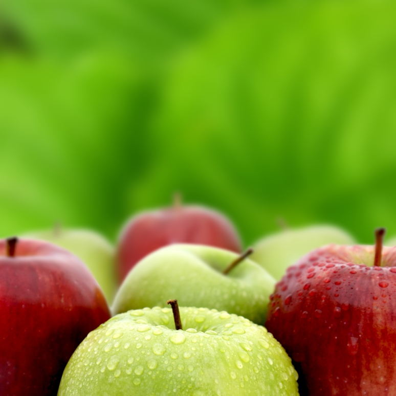 Red and green apples with water drops on green background